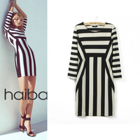 Women's 2013hm spring and summer fashion slim hip black and white stripe elastic one-piece dress