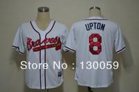 Free Shipping 2013 Cheap Men's Baseball Jerseys Atlanta Braves #8 Upton White Cool Base Jersey,Embroidery Logos