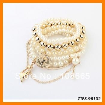 Free  Shipping 12pcs/lot  2013 Hot Sale Europe Fashion Layers Pearl Bracelet Cats Design Wholesale ZTPS-98132