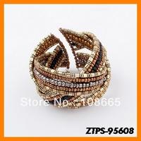 Free  Shipping 12pcs/lot  2013 New Arrive Europe Fashion Bohemian Bead Bracelet Wrap Chain Bracelet Wholesale ZTPS-95608