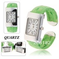 Stylish My's Women's Bracelet Wrist Watch with Silver Rectangle Shaped Dial Steel and Leather Band