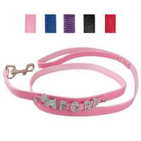 1.5* 120cm Personalized Pu Leather Dog leash Snakeskin Leather  With Rhinestones Name&Charm Leash