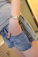 Free shipping Kaka 2013 women's zipper denim shorts female