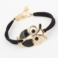 Min order is $9 Bracelet female accessories fashion bracelet leather cord bracelet all-match owl bracelet SL106