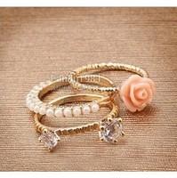 Min order is $9 Pearl rose diamond piece set aesthetic ring gentlewomen