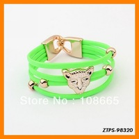 Free  Shipping 12pcs/lot  2013 Vogue Fluorescence Color Leopard Head Chain Bracelet Wholesale ZTPS-98320