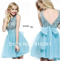 Euro Type A-line High Scoop Neck Low Back Blue Organza Short Prom Dress 2014 with Crystals