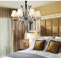 Epistar LED Candle Pendant Lights/Living Room/K9 Crystal/Hardware/Export/White Shape/Chain/Black Flannelette/Six Light Holders