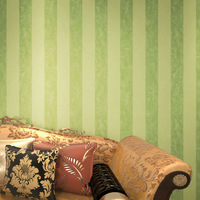 Teal & Green  Lines Striped Vintage Texture Nonwove Wallpaper Livingroom/Background/