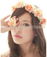 10 x  flower crown for women fashion Korean silk Rose bridal pink with white hair accessories with pearl in each rose HZW04