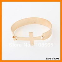 Free  Shipping 12pcs/lot  2013 Fashion Punk Metal Cross Bracelet Wholesale ZTPS-98201