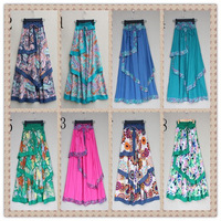 FREE SHIPPING new fashion 2013 Bohemian multicolor printing posed long skirt Women's skirts linen bust skirt of the dress