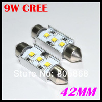 Freeshipping  42mm 9w Cree canbus led dome bulb festoon 2pcs/lot  festoon high power C5W LED Canbus No Error car bulb light