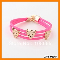 Free  Shipping 12pcs/lot  2013 New Arrive Candy Color Leopard Head Chain Bracelet Wholesale ZTPS-98207