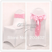 new desgin free shipping dusty pink satin chair bow,easy to fit on chair  no tie by hand