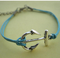hot sell handmade antique silver anchor bracelet Pink Wax Cords