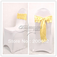 new desgin free shipping silver satin chair bow,easy to fit on chair  no tie by hand