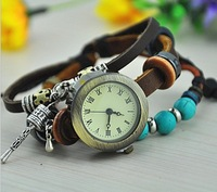 Free Shipping~2013 New Arrivals GENUINE Leather/Cow Leather Watches With Turquoise,Retro Little Hammer Dress Watch~W026