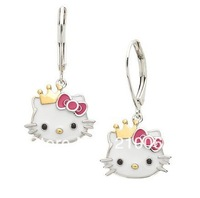 2014 Hot Sale Real Trendy Girls Factoryfashion Hello Kitty Wholesale, Cute Earrings Ht7997 Crown Girls' Jewelry (mixed Order)