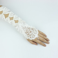 Embroidered bridal gloves long satin gloves design lace gloves long design bridal accessories gloves