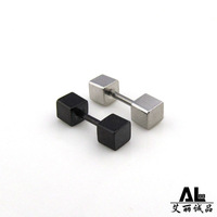 Small bar square titanium stud earring male black stud earring