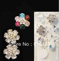 Free shipping! min order $15 flower alloy flatback for diy phone decoration 18pc for woman (no phone case) DY574