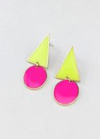 The appendtiff ! neon color trigonometric circle earrings stud earring