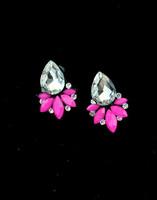 Neon color gem rhinestone earrings stud earring