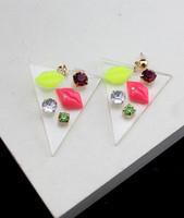 Gem rhinestone trigonometric transparent plastic earrings stud earring