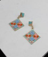 Square pattern pendant earrings stud earring