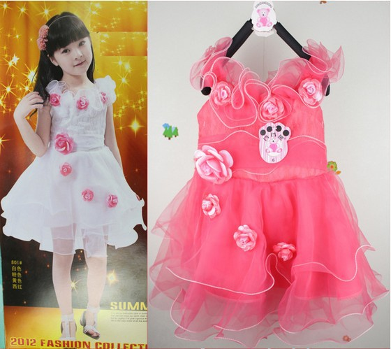 Lace dress children wedding and prom party wear white pink yellow