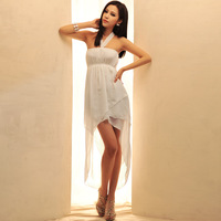 2013 halter-neck slim one-piece dress sexy tube top irregular sweep one-piece dress