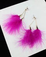 Feather multicolour earrings stud earring