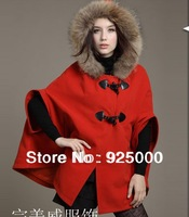 2013 Gossip Lady Woman fur collar Fashion Knight Wool Shawl Cape Ponchos Coat Overcoat Outwear jacket Capes Camel and Black
