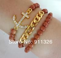Fashion Jewelry 6mm Natural Stone Beads 3 Row Stretch Bracelet SL-00705
