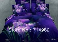New Beautiful 4PC 100% Cotton Comforter Duvet Doona Cover Sets FULL / QUEEN / KING SIZE bedding set 4pcs purple flowers op-88