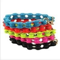 Stylish Metal bicycle chain fluorescent Bracelets women Multicolor New free shipping 8pcs/lot