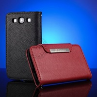 100% Cowhide leather Cover For Samsung Galaxy S3 I9300 Genuine Case Wallet Style Cross Pattern with Metal Closure Head