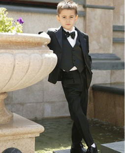 spring new 2014 spring Child's  suit male chriden's black suits set infant flower girl blazer formal dress boy suits