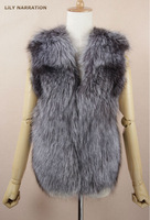 women silver fox fur with mink fur back genuine sheep leather belt coat