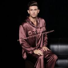 22m m mulberry silk male long sleeve length pants sleepwear set b1079(China (Mainland))