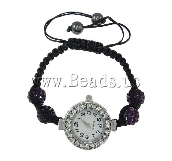 Free shipping Shamballa Watch Jewelry Fashion Zinc Alloy with rhinestone pave bead Wax Cord Non magnetic