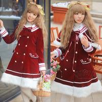 Christmas flat flannelette lolita dress sailor collar overcoat rhodic