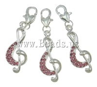 Free shipping!!!Zinc Alloy Lobster Clasp Charm,Vintage, Music Note, silver color plated, with rhinestone, nickel