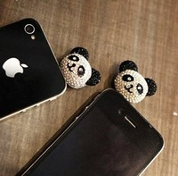 Min.order is $10(Mix order) Free Shipping Wholesale and Retail Cell Phone Accessories Panda Dust Plug Ear Cap Lot