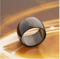 Free Shipping men black rings Wide black men  titanium steel boy  rings jewelry