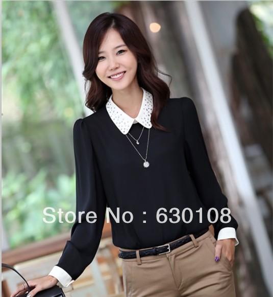 2014 New Hot spring Fashion Women Blouse Clothes Casual Career Chiffon diamond professional plus size fall long-sleeved shirt(China (Mainland))