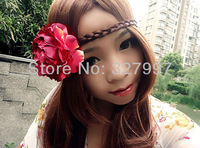 Fashion hair flower head bands silk wine red rose DIY elastic props headpiece HZH07 in free shipping