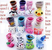 Free shipping  baby rattle bell  Socks with animal head design Baby Anti-slip Walking toy Socks Children socks