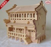 Educational toys diy model wood 3d puzzle 3d wooden model buiding house